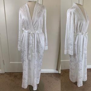 Linea Donatella long floral satin bridal robe